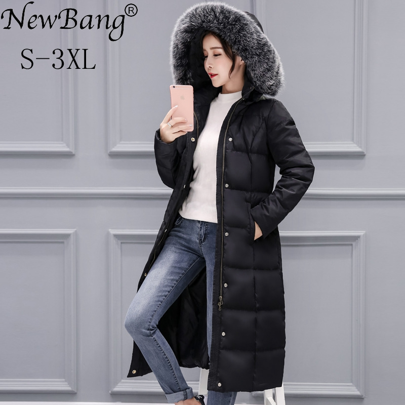 NewBang Brand Winter Jacket Women Feather Parka Real Fur Collar Coat Women Long Duck Down Windbreaker Thick Warm Jacket