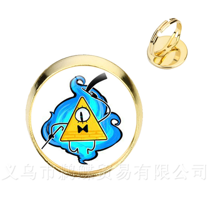 Chain & Link Bracelets Able Drama Gravity Falls Mysteries Bill Cipher Wheel Glass Round Dome Rings Silver/golder 2 Color Adjustable Rings For Women