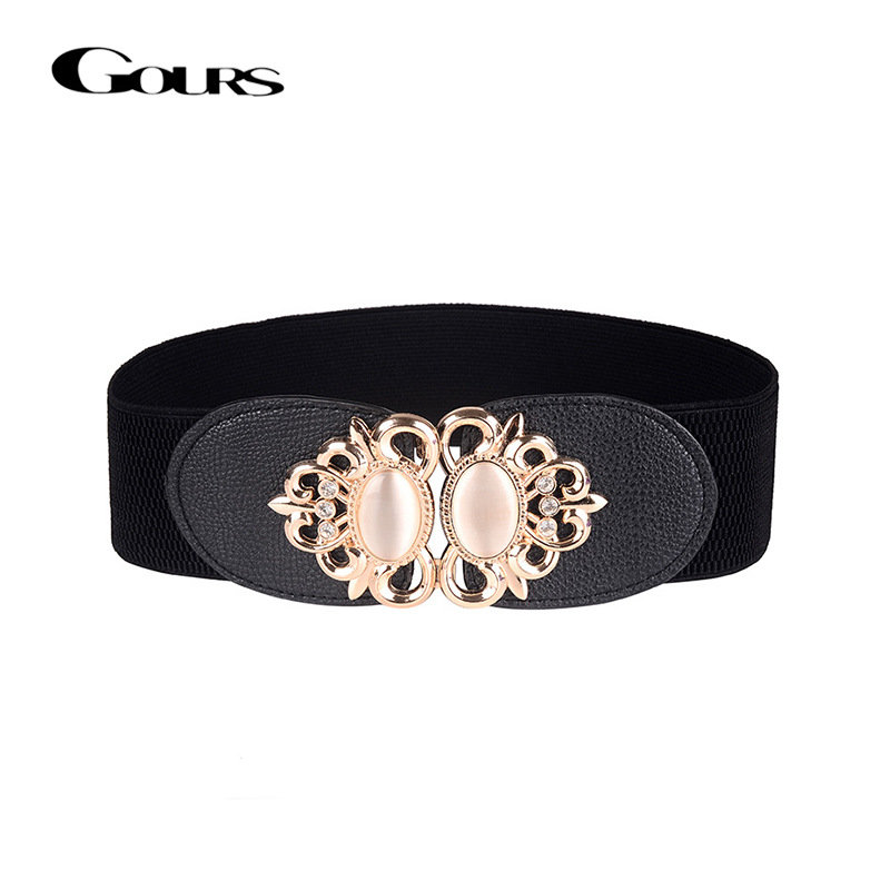 Gours Dress Cummerbunds Women PU Leather Waist Belts Wide Elastic Girdle Strap Fashion Rhinestone Retro Style New Arrival PDL054