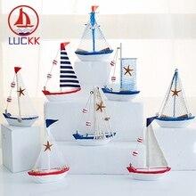 LUCKK Mediterranean Style Retro SailBoat Figurines Ornament Nautical Home Decor Miniature Creative Shell Wood Crafts Marine Ship