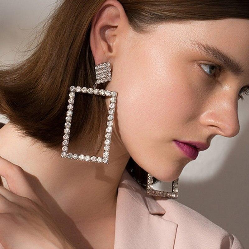 Новые Большие Преувеличенные Геометрические Квадратные ROP Серьги для Женщин серебро большой