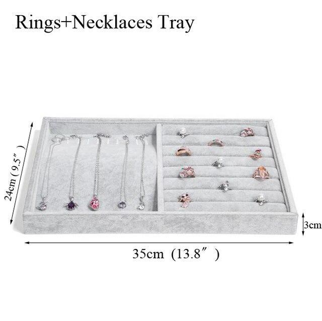 Fashion Ice Grey Velvet Jewelry Tray Jewelllery Storage Box Watch Holder 5