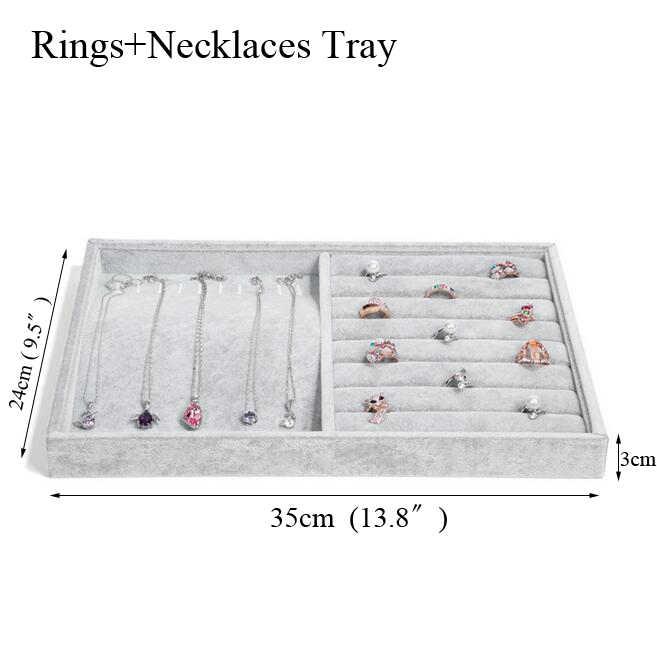 Bandeja de joyería de terciopelo gris hielo de moda caja de almacenamiento de joyería soporte de reloj collar pendientes de anillo colgante organizador de exhibición serie