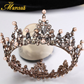 2017 New Vintage Baroque Large Tiara Crown Imitation Pearls Royal Diadems Round European Wedding Tiaras Bronze Black Crowns HG71