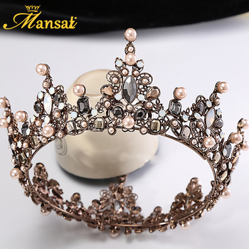2017 New Vintage Baroque Large Tiara Crown Imitation Pearls Royal Diadems Round European Wedding Tiaras Bronze Black Crowns HG71 Чокер