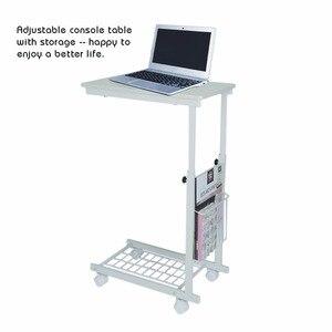 Image 3 - גובה מתכוונן שולחן עם גלגלים להסרה ספה צד קפה שולחן נייד צד שחור ערבה שולחנות נורדי פשוט ברזל שולחן