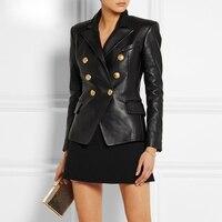 2019 Spring New Genuine Sheepskin Coat Women Long Sleeve Casual Sheep Leather Suit Gl0128