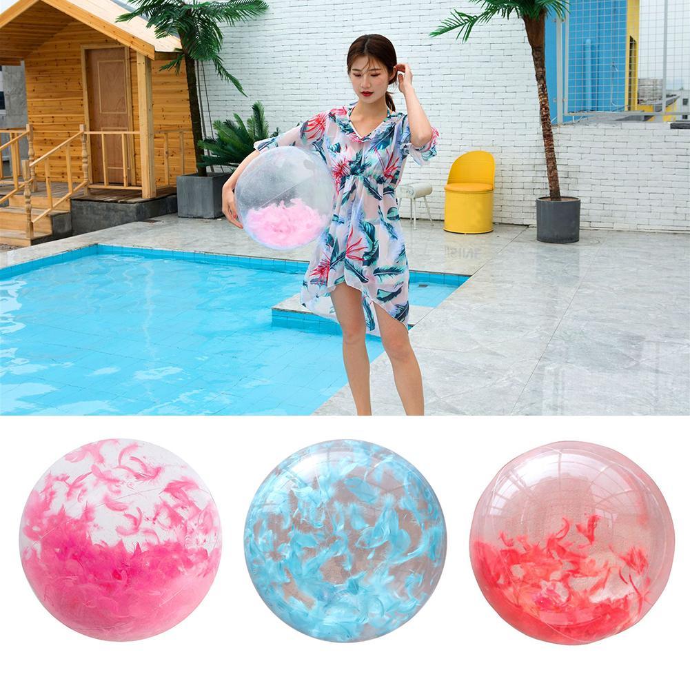 40cm Inflatable Balloon Beach Ball Water Ball Ball Baby Kids Beach Pool Play Ball Built-in Feather