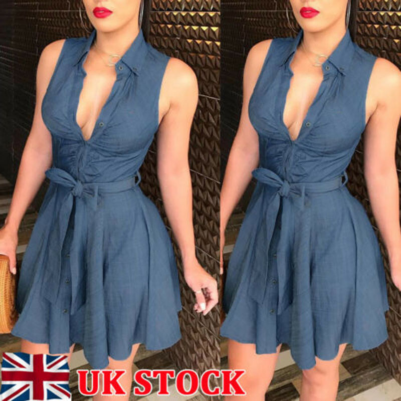 2019 New Brand Fashion Elegant Women Vintage Casual Jeans Mini Skater Dress Denim Shirt Dress Size 6-16