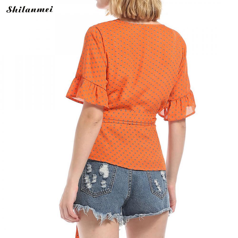 Women Half Sleeve Slim Blouse Summer 2018 Dot Print Orange Shirt With Belt Ruffle Sexy Deep V Neck Blouses Causal Blusas Tops