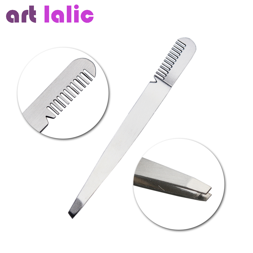 1Pcs Stainless Steel Eyebrow Tweezers Clip Eyelash Comb Entrained Slant Tip Hair Removal Eyebrow Beauty Tools
