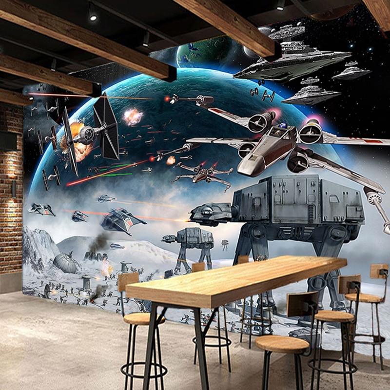 Custom Photo Wall Paper 3D Stereo Cartoon Shock Star Wars Mural Kid's Room Cafe KTV Backdrop Wallpaper For Walls 3 D Papel Tapiz