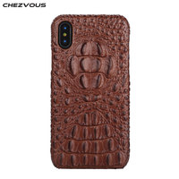 CHEZVOUS Luxury Case For iPhone X 10 Cover Leather 3D Crocodile Pattern Phone Back Cover Genuine Leather Cases Coque Capa 2018