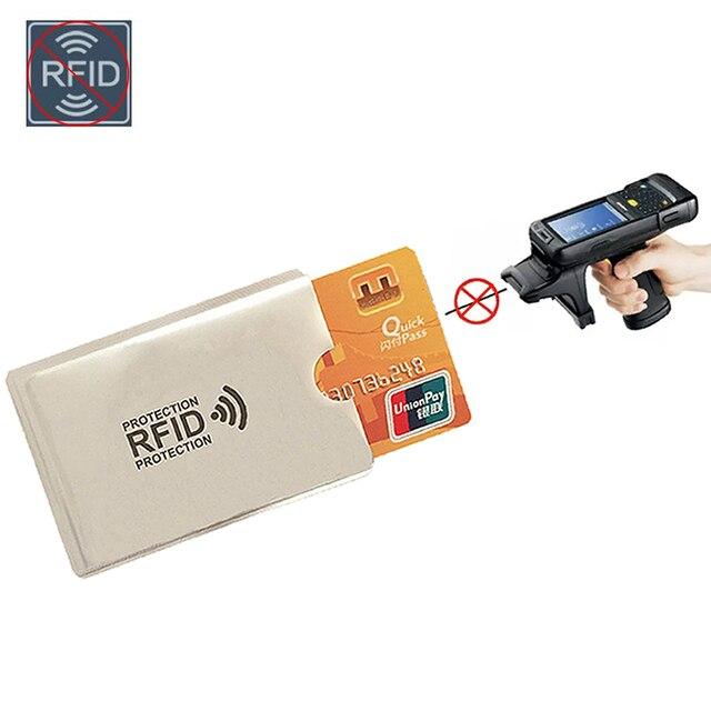 Anti Rfid Wallet Blocking Reader Lock Bank Card Holder Id Bank Card Case Protection Metal Credit NFC Holder Aluminium 6*9.3cm 1