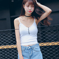 American  Apparel white black girls 90's cropped tank top Summer sexy sleeveless button fitness women short knitted crop tops