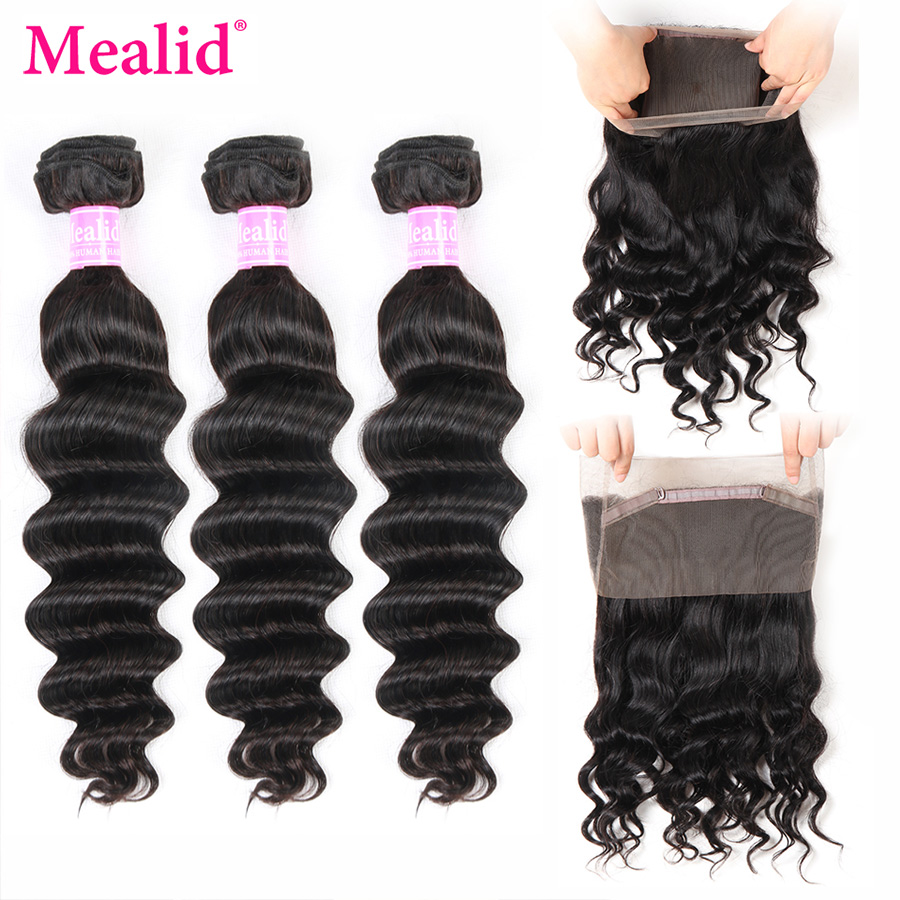 Mealid Brazilian Loose Wave Bundles With 360 Frontal 8-28 Non-remy Natural Color Human 3 Bundles With Frontal Free Part