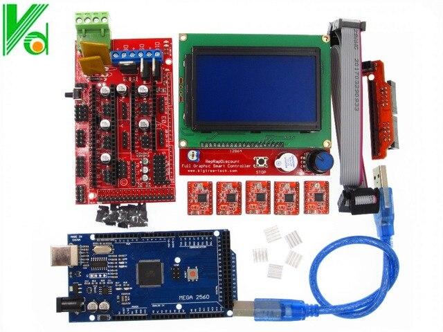1 unids Mega 2560 R3 + 1 unids RAMPAS 1.4 Controller + 5 unids Módulo controlador A4988 Stepper 1 unids 12864 controlador de Impresora 3D kit