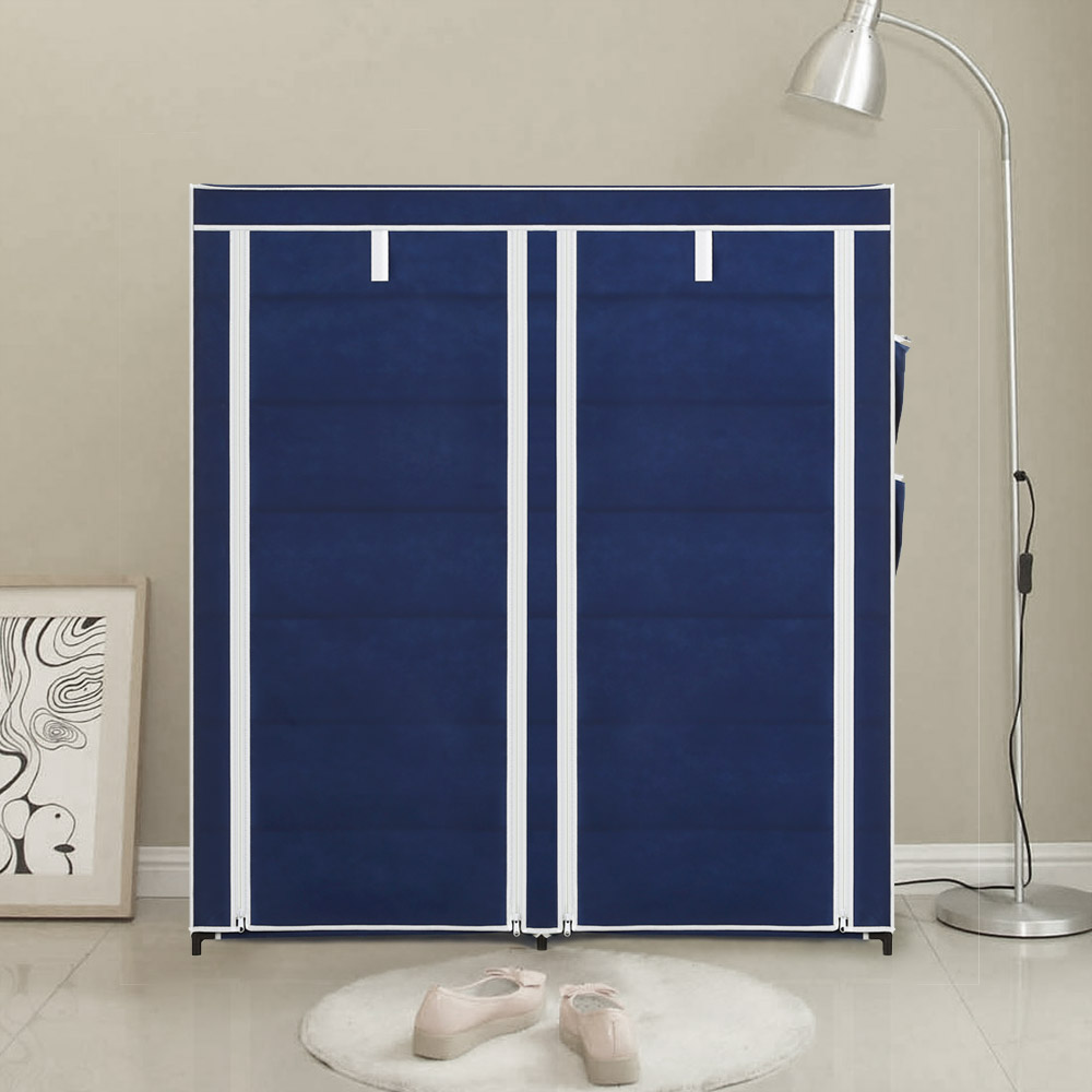iKayaa US UK FR Stock 12 Grids Shoes Storage Organizer Classic Shoes Rack Shoe Cabinet With Curtain For Room Or Doorway