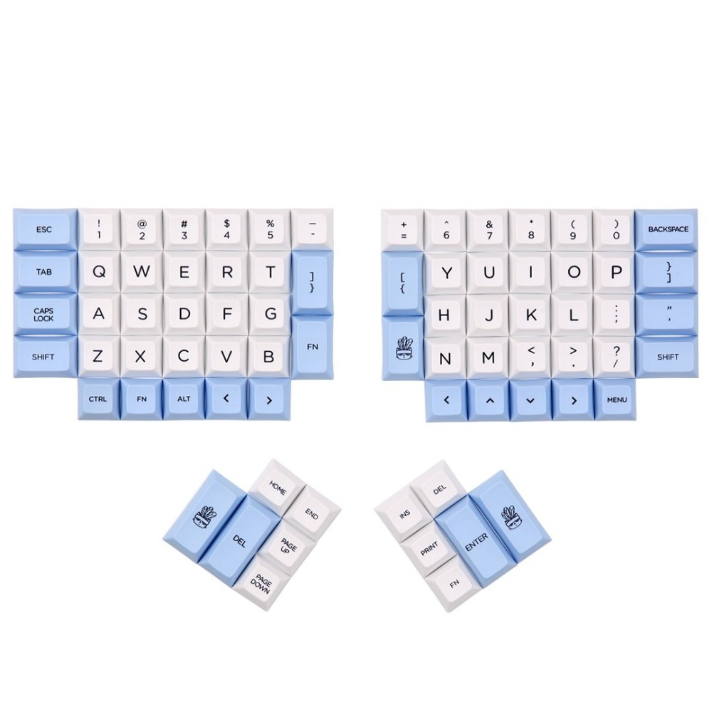 DSA ERGO Dye Sub keycap White and Blue color 95 keys within personality additional for Ergodox