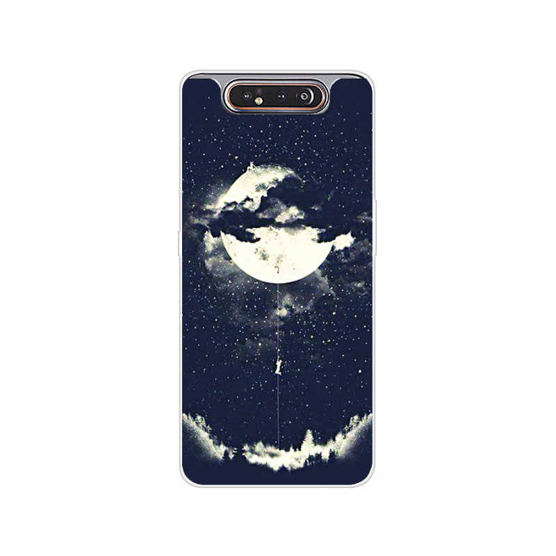 """Pour Coque Samsung A80 Coque Silicone peinture Coque arrière souple Coque de téléphone sur pour Samsung Galaxy A80 A 80 A805F A90 Fundas 6.7"""""""