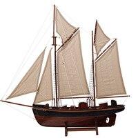 Средиземноморская деревянная модель парусника, украшение, имитация дерева, парусный спорт, корабль 75 см, деревянная лодка, руководство, евр
