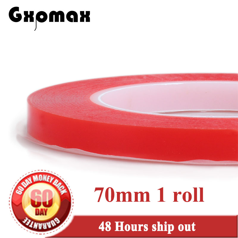 Gxpmax (0.2mm Thick) 70mm width *25M Strong Acrylic Adhesive Red Film Clear Double Sided Tape Clear PET for Screen Glass 2rolls 1mm 5mm 5m strong pet adhesive pet red film clear double sided tape no trace for phone lcd screen free shipping