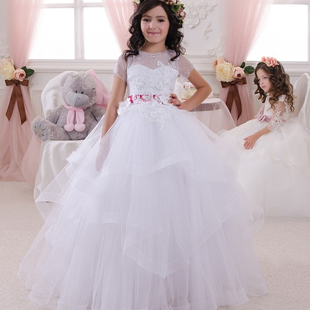 Little Girl Pageant Dresses White Ball Gown Patchwork Short Sleeves ...
