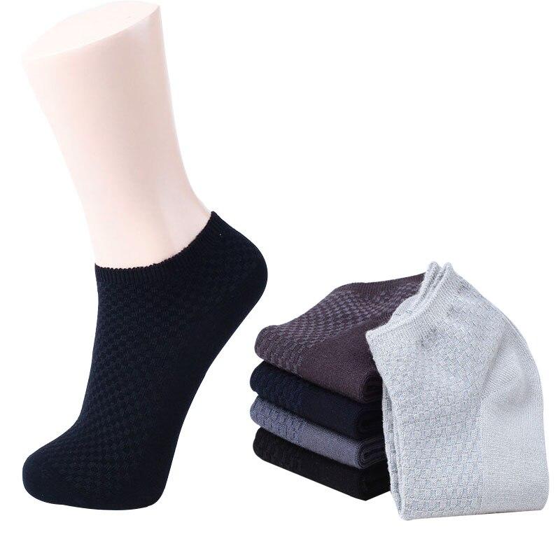 5 Pairs/lot Summer Socks Bamboo Men Lattice Short Tube Anti-bacterial Socks Men All-Match Male Socks High Quality Classic Black