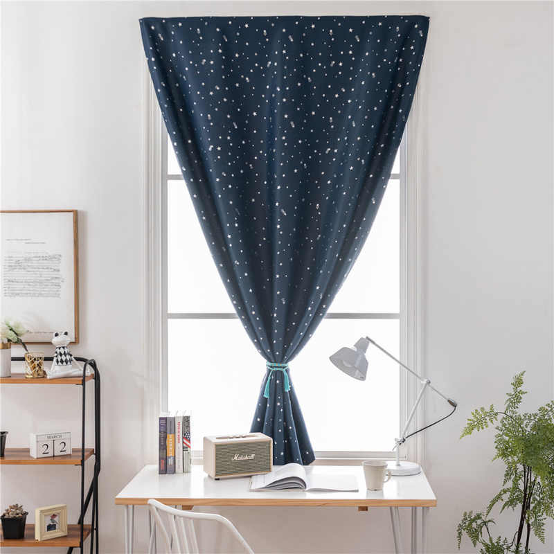Hot Silver Stars Luxury Home Blackout Curtains Free Double Face Velcro Sheer Curtain Window Curtains for Bedroom Living Room
