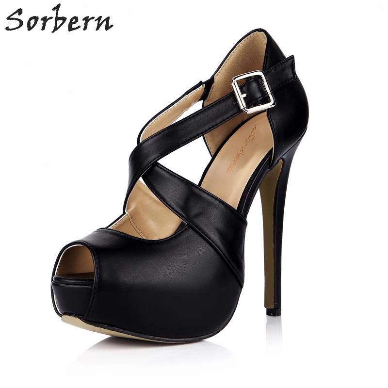 Sorbern Cross Straps Buckles Peep Toe Platform High Heel Shoes Ladies Platform Pumps Celebrity Shoes Women Party High Heels