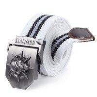 Fashion men's Canvas belt skull Metal tactics woven belt canvas belt Casual pants Cool wild gift for men large size 140 cm