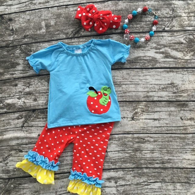 2016  baby girl little girls unique boutique clothing baby girls clothing ruffle capri set girls with matching bow and neckalce