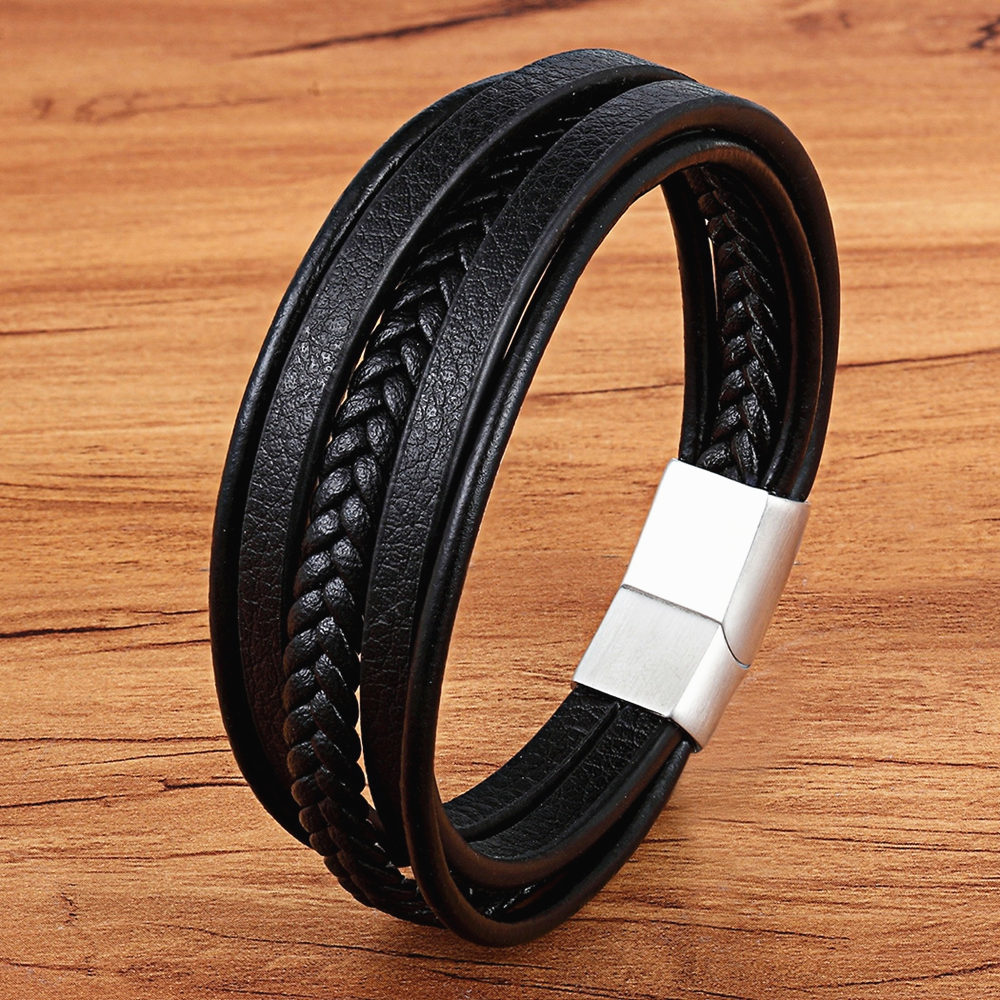 Stainless Steel Top Quality Jewelry Male Black/Brwon Leather Bracelet Men Braided Multilayer Fashion Punk Wholesale