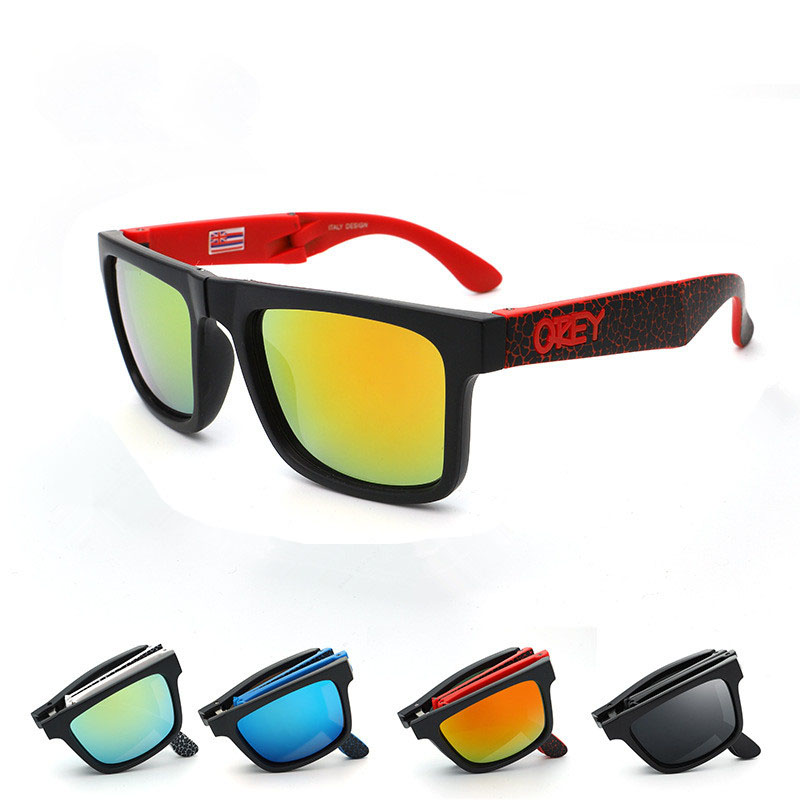 Folding Sunglasses Ken-Block Reflective-Coating Rectangle Women Brand Designer Square