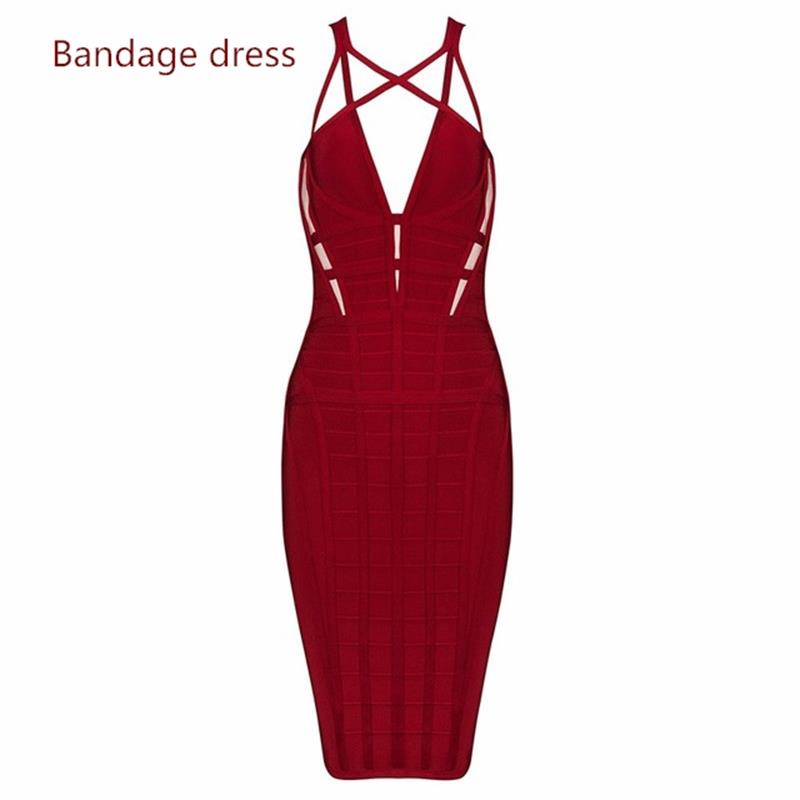 2017 women high quality Summer  Dress red knitted V-neck hollow out celebrity bandage dress prom party dress wholesale dropship женское платье summer dress 2015cute o women dress