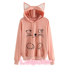 Fashion Cute Cat Print Hoodies Women Ear Cartoon Long Sleeve Sweatshirt Kawaii 2018 Lovely Ladies Pullovers Sudadera Mujer
