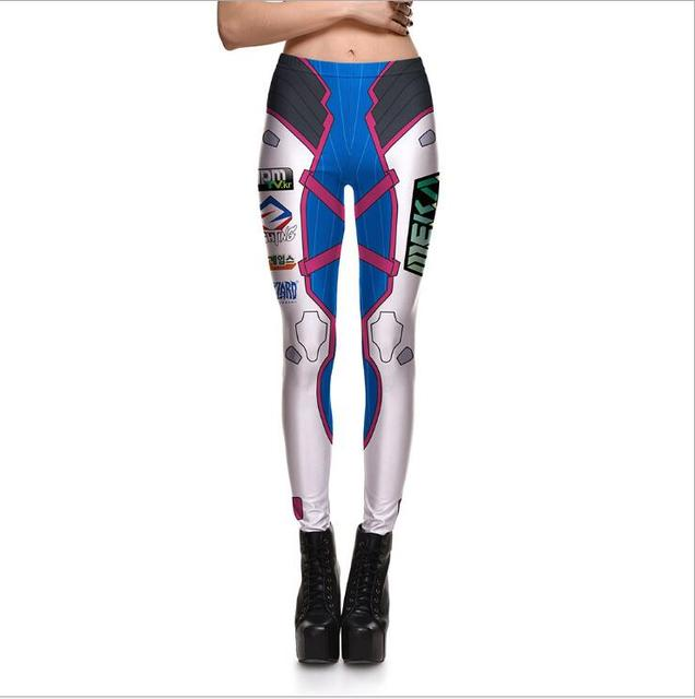 9fb3593ef1aa3 Game O W Sexy D.VA Cosplay Costume Slim Games Pants 3d Print Leggings Over  DVA Clothing Cusual Summer Tight Bodysuit
