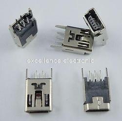 100 sztuk Mini USB żeński 5Pin złącze wtykowe 180 stopni|connector 5pin|connector femaleconnector socket -