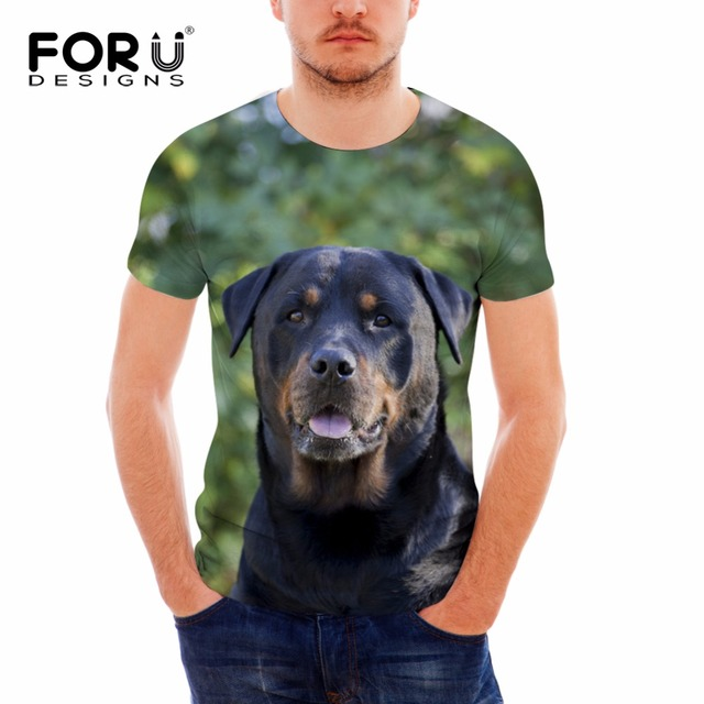 9b280adfa83f FORUDESIGNS 2018 Summer Short Sleeve T Shirt Men 3D Rottweiler Dog Print  Male Breathable T-shirts Brand Clothing O-neck Tshirts