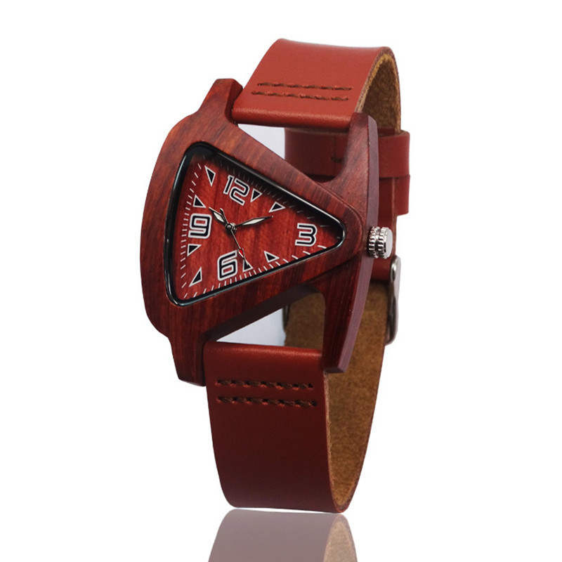 Unisex Charm Glass Bamboo Wooden WatchesFor Men and Women Fashion Triangle Genuine Leather Analog Quartz Wrist