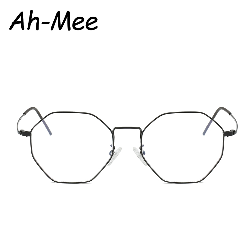 2019 New Designer Women Hexagon Glasses Frames Vintage Optical Metal Glasses Frame Clear lens Eyeglasses Spectacle Frame