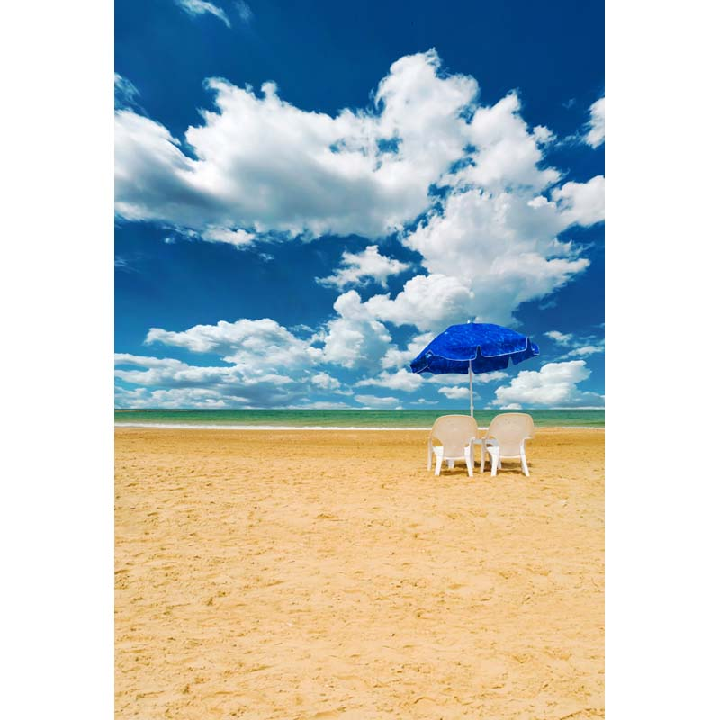 beach chairs and umbrella dining chair sale 5x7ft sand clouds sea view washable wrinkle free banner photo studio background backdrop polyester fabric