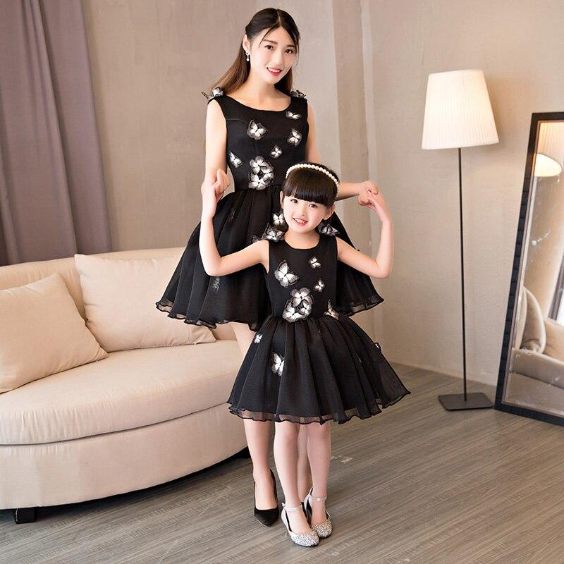 Mère fille robes pour mariage soirée vêtements famille correspondant tenues vêtements papillon maman et fille robe de mariée - 2