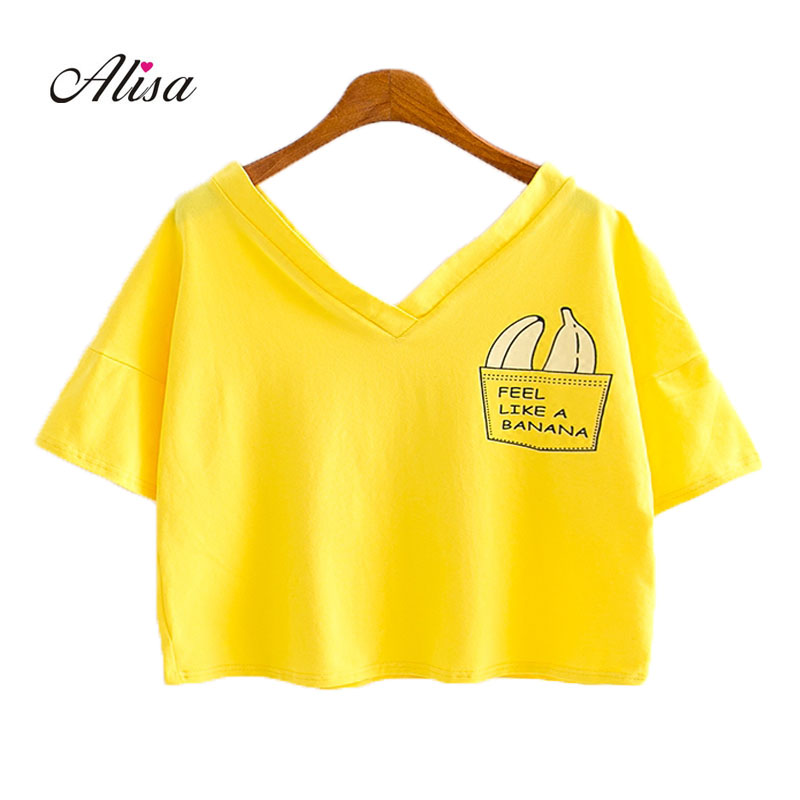 1ad1c50d012c6 New summer crop top women banana print collar casual tee jpg 800x800 Banana  crop top