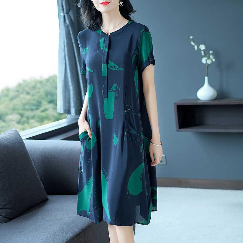 AYUNSUE damska letnia sukienka 2020 duży rozmiar luźne jedwabne Midi Casual Dress dla kobiet sukienki plażowe elegancki Vestido Mujer KJ1855