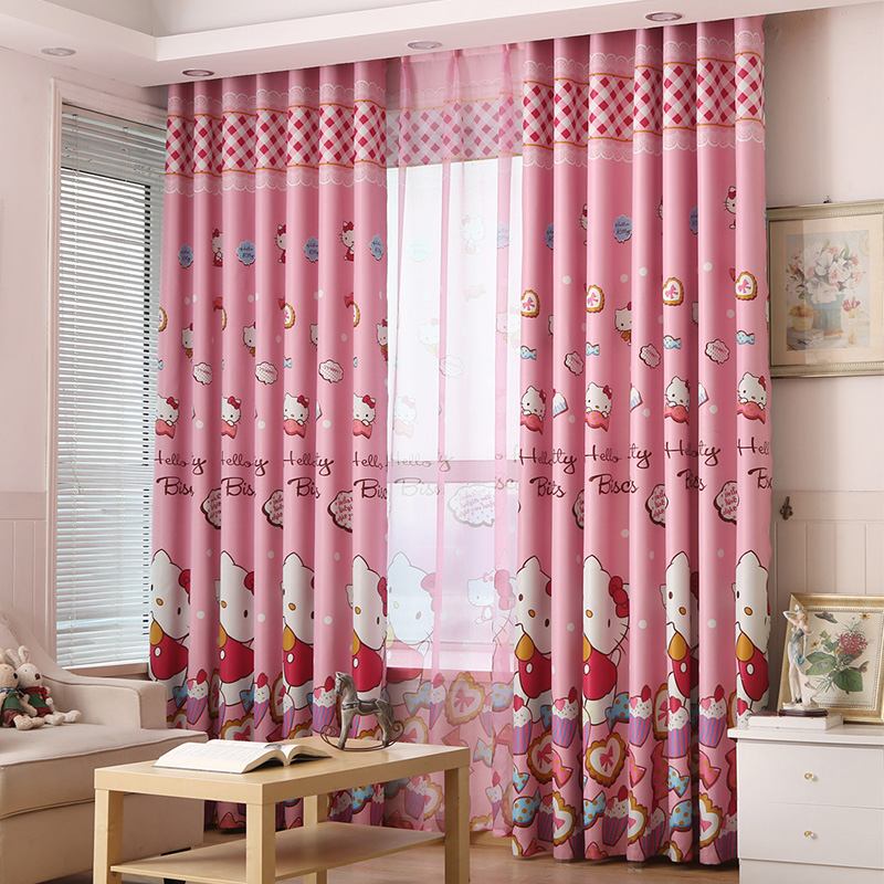 hello kitty pink princess curtains for girls room nursery kids children baby room bedroom blackout curtains