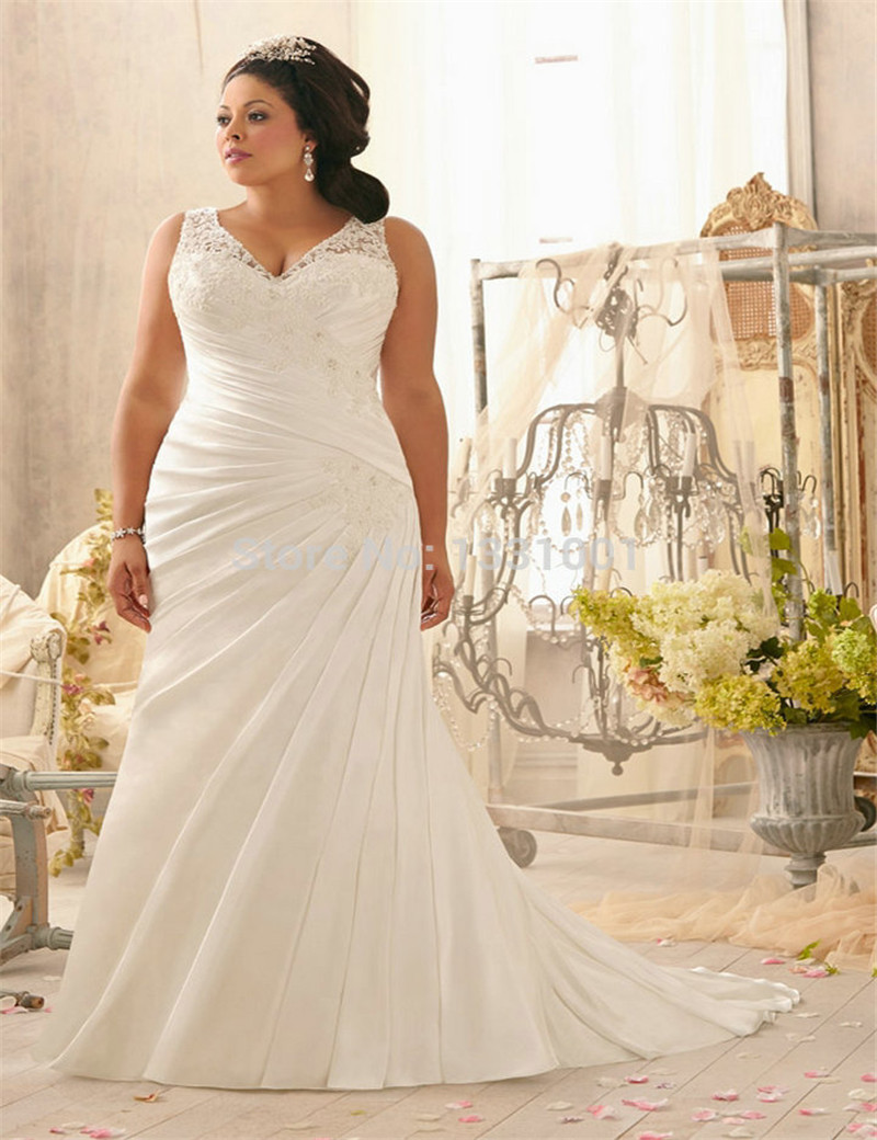 New modern dress styles - Custom Made Modern Hijab Style Bridal Gowns White Sexy V Neck Plus Size Wedding Dresses For