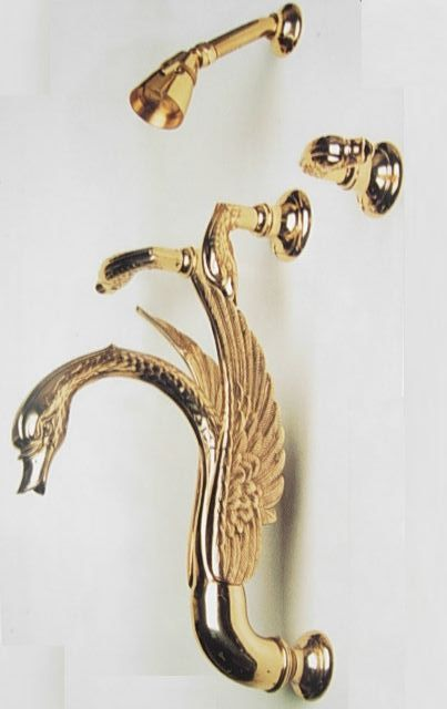 Free shipping Custom made gold PVD finish swan bathtub shower faucet with shower head Complete 3 Handle Tub & Deluxe Shower Set