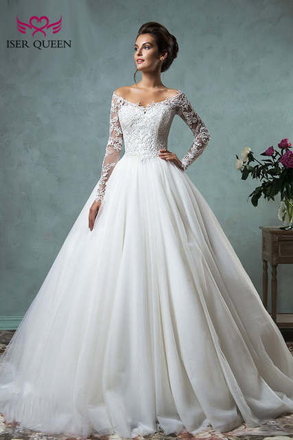 9d61b9f6cb8 V neck Long Sleeve Illusion Tulle Wedding Dress Ball Gown Arab Plus Size Lace  Appliques Court