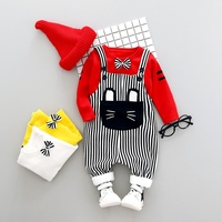 Winter Baby Boys Clothing Cartoon O neck Sets Pullover T shirt+Strip Pant 2PCS Clothes Plus Velvet Overalls Thick Warm Suits